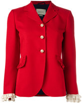 Gucci frill detail blazer - women - Silk/Acetate/Wool - 42