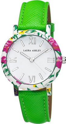Laura Ashley Women's Watches - Green & Pink Floral Strap Watch