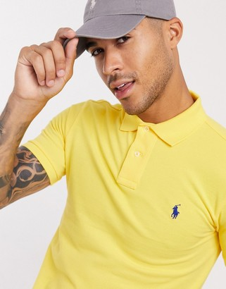 Polo Ralph Lauren player logo slim fit pique polo in yellow