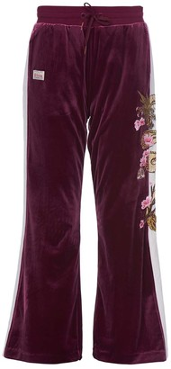 Evisu Velour Sweatpants With Dragon And Sakura Embroidery