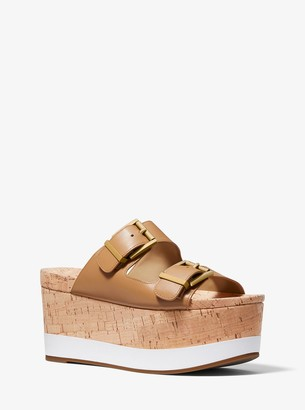 MICHAEL Michael Kors Delilah Leather and Cork Flatform Sandal