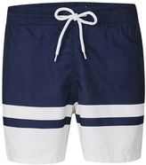Topman Navy Block Stripe Swim Shorts
