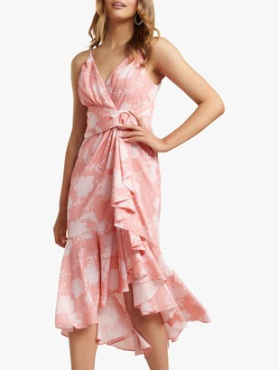 Forever New Ivy Floral Print Midi Dress, Coral Linear Spray