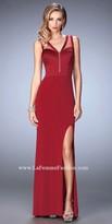La Femme Deep V Illusion Neckline Prom Dress