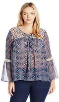 Jolt Women's Plus Size Woven Lace up with Bell Sleeve Top