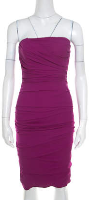 Dolce & Gabbana Pink Silk Ruched Strapless Dress S