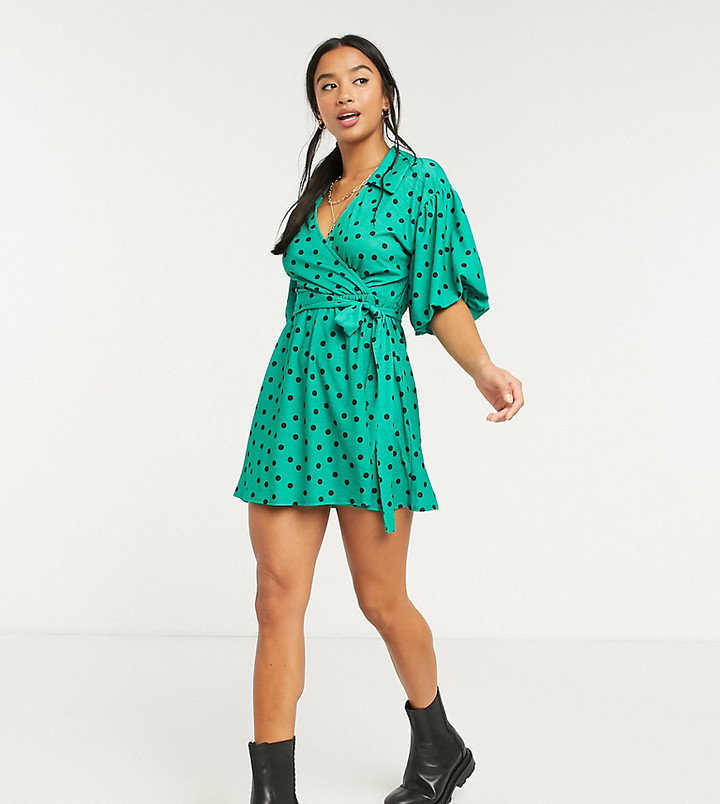 ASOS DESIGN Petite mini dress with collar detail and puff sleeve in green polka dot print