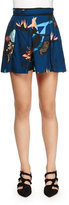 Proenza Schouler Floral-Print Pleated Shorts, Navy/Coral/Peach