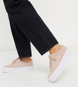 ASOS DESIGN Wide Fit Dynamic suede chunky trainers in pale pink