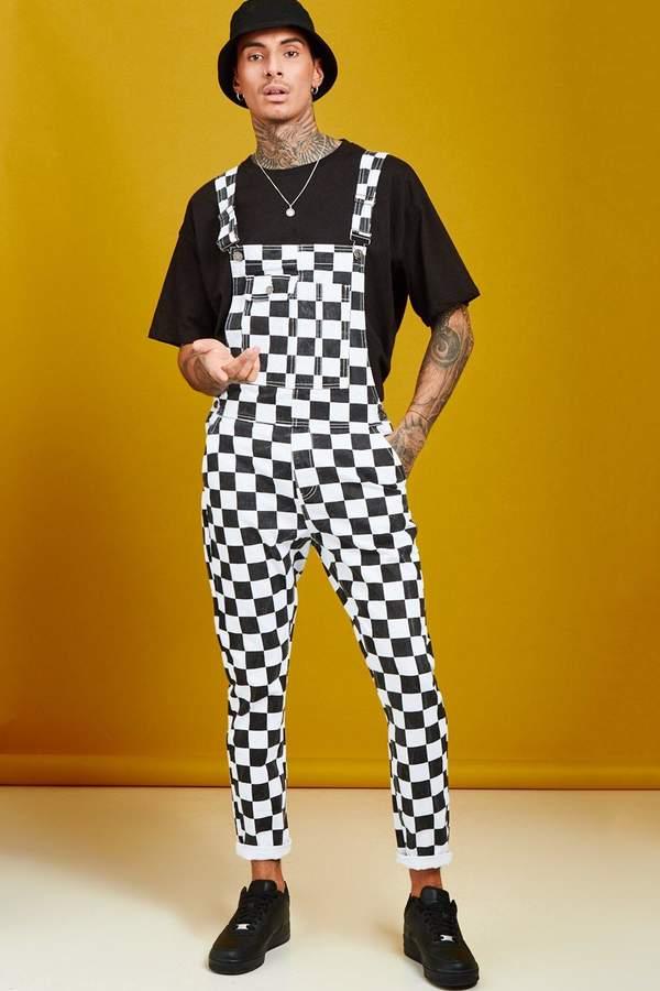boohoo Slim Fit Checkerboard Print Overalls