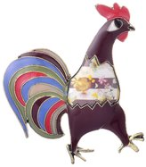 Dr. μ D & R Alloy Maxi Colorful Cock Brooch Antic Silver Plated Jewelry For Women Girl