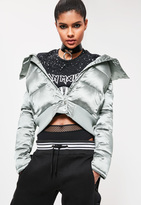 Missguided Petite Green Satin Short Puffa Jacket