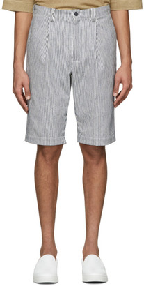 House of the Very Islands White and Navy Striped Linen Shorts