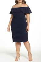Xscape Evenings Plus Size Women's Off The Shoulder Pleat Body-Con Dress
