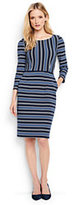 Lands' End Women's Tall 3/4 Sleeve Ponte Sheath Dress-Radiant Navy Multi Stripe