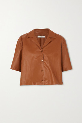 Tibi Faux Leather Shirt - Brown