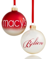 Holiday Lane Set Of 2 Glass Macy's Ball Ornaments, Created for Macy's
