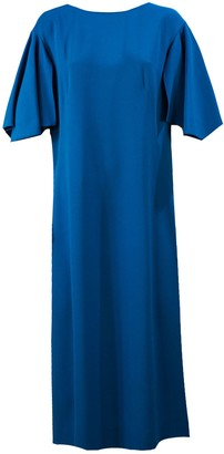 Alberta Ferretti Blue Boat Neck Shift Dress