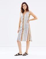 MinkPink Stripe V-Neck Midi Dress