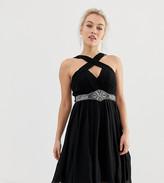 Little Mistress Petite cross front halter maxi dress