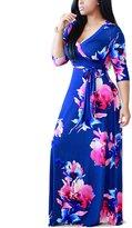 Akmipoem Women's Plus Size Floral Print Long Sleeve Tie Waist Surplice Boho Maxi Dress