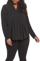 Foxcroft Plus Size Women's Carrie Crepe & Jersey Top