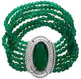 """Judith Ripka Sterling Green Chalcedony Bead 7-3/4"""" Bracelet"""
