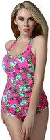 Foclassy Women's Retro Slim Push Up Plus Size One piece Halter Neck Vintage Swimsuit Swimwear Bathing suit