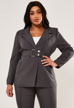 Missguided Plus Size Charcoal Co Ord Belted Blazer