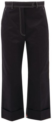 Thom Browne Topstitched Cotton-drill Chinos - Womens - Navy