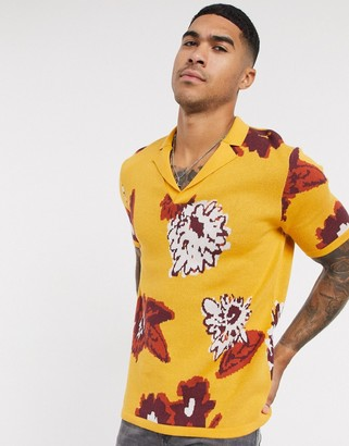 ASOS DESIGN knitted revere floral polo t-shirt in mustard