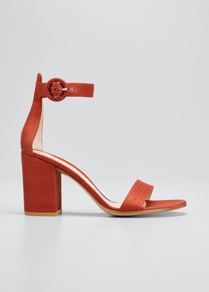 Gianvito Rossi Shantung Ankle-Strap Sandals