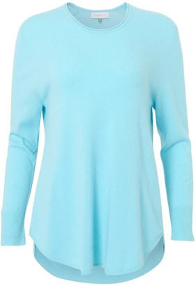 Silver Pink Long Line Jumper In Turquoise