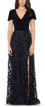 Xscape Evenings Embellished 3D Flower Gown
