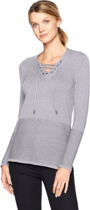Tribal Women's L/s Lace Up Sweater