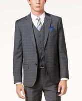 Ben Sherman Men's Slim-Fit Gray Windowpane Plaid Suit Jacket