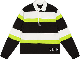 Valentino Jelly Block Polo in Black & White & Yellow Fluo | FWRD