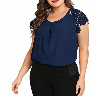 Kalorywee Womens Tops Fashion Womens Plus Size Solid O-Neck Floral Lace Shoulder T-Shirt Tops Blouse Navy