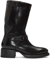 DSQUARED2 Black Leather Buckle Boots