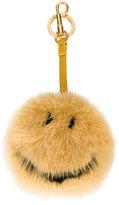 Anya Hindmarch Smiley bag charm - women - Mink Fur - One Size