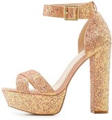Charlotte Russe Qupid Glitter Two-Piece Platform Sandals