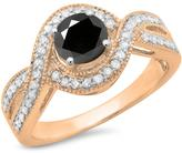 Ice 1 1/7 CT TW Black Diamond 10K Rose Gold Engagement Ring with Diamond Accents