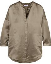 Eres Oversized Silk-jacquard Pajama Top - Army green