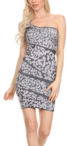 White & Black Abstract One-Shoulder Dress