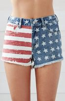 Bullhead Denim Co. American Flag High Rise Cutoff Denim Shorts