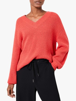 Mint Velvet Chunky V-Neck Jumper, Red