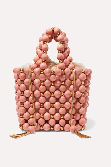 fafa0119f4e Vanina - Bolero Beaded Wooden Tote - Pink