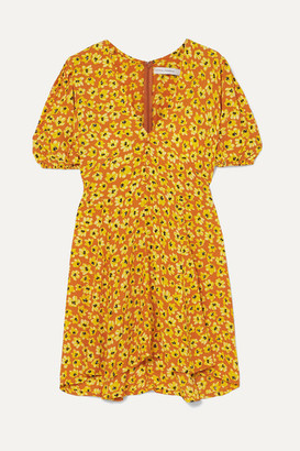 Faithfull The Brand Ilia Floral-print Crepe Mini Dress - Saffron