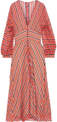 Lela Rose Button-detailed Striped Silk-chiffon Midi Dress