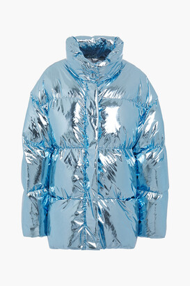 Ienki Ienki Vent Appliqued Mesh-paneled Foiled Shell Down Jacket